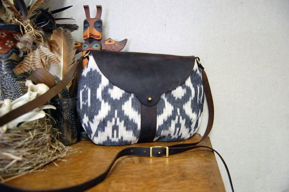 Beautiful Ikat and Leather Bag