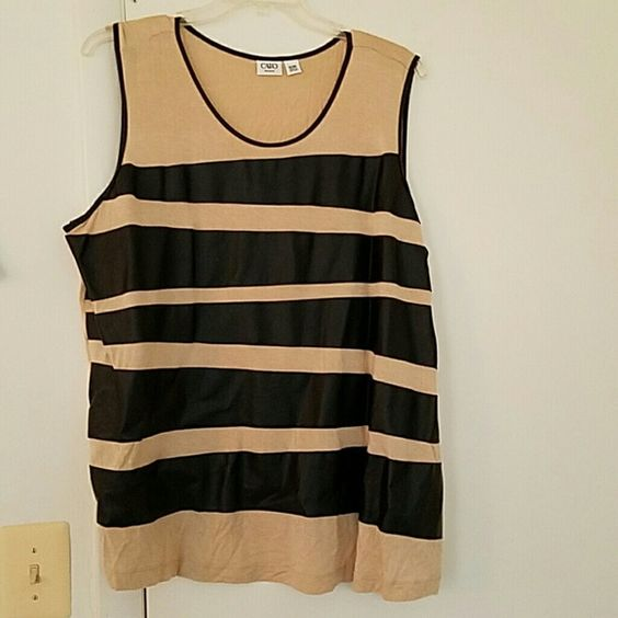 Tank Top Tan and Black Pleather Tank. Sz 26/28W Worn Once. Cato Tops Tank Tops