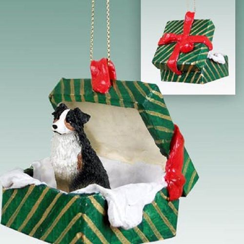 Australian Shepherd Tricolor Dog Green Gift Box Ornament