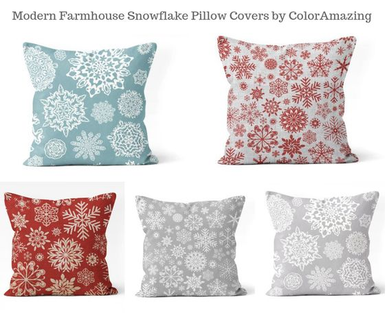 Modern Farmhouse Snowflake Pillow Covers by ColorAmazing