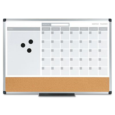 Bi-Silque Visual Communication Products MB3507186 MasterVision 3-in-1 Planner 24X18 Dry Erase-Calend