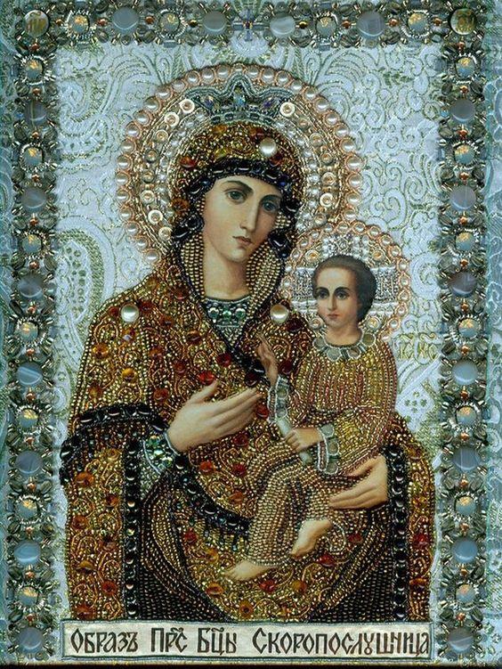 Mère de Dieu, faite avec des perles: