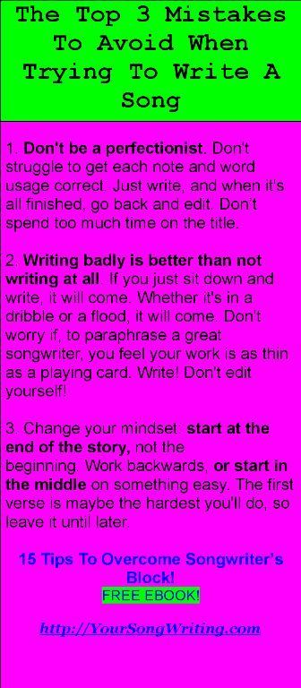 15 Tip To Overcome Songwriter S Block Free Ebook Http Yoursongwriting Com Writing Lyric Music Inspirational Songs All The World A Stage Paraphrase