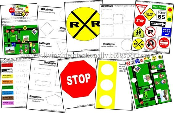Traffic Signs {FREE} Preschool Pack - Use for safety section in activity book.