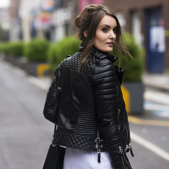 Womens Leather Biker Jacket Black KgUErA