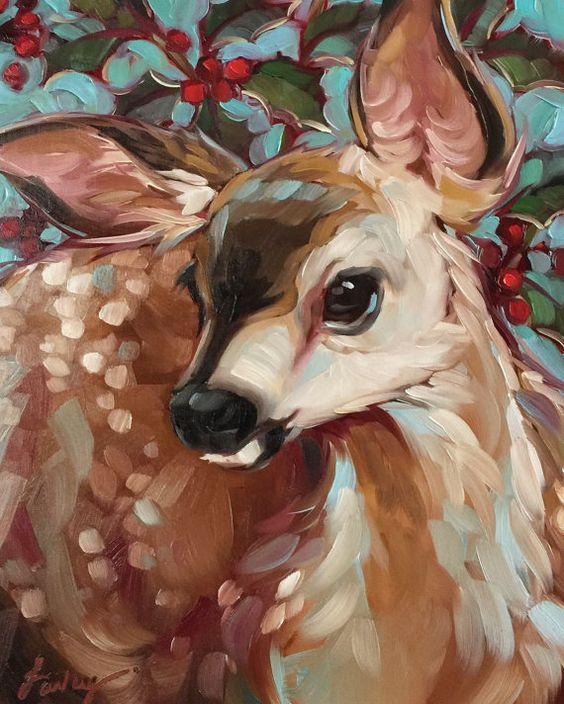 Deer Painting 'Berry Deery' 8x10 inch original door LaveryART