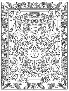 skull color page he loves me he loves me not adult coloring pages pinterest colors he loves me and skulls - Coloring Worksheets For Middle School