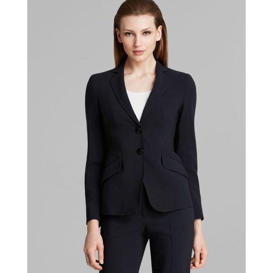 Armani Collezioni Blazer - Wool (4,865 ILS) ❤ liked on Polyvore featuring outerwear, jackets, blazers, navy, tailored jacket, navy wool jacket, wool jacket, navy blue blazer and navy wool blazer