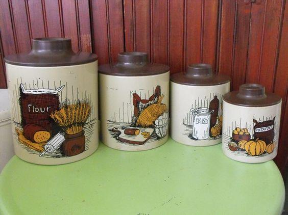vintage ransburg mid century kitchen canister set tin flour sugar