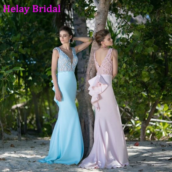 2016 Tarik Ediz Sky Blue Pink Prom Dress