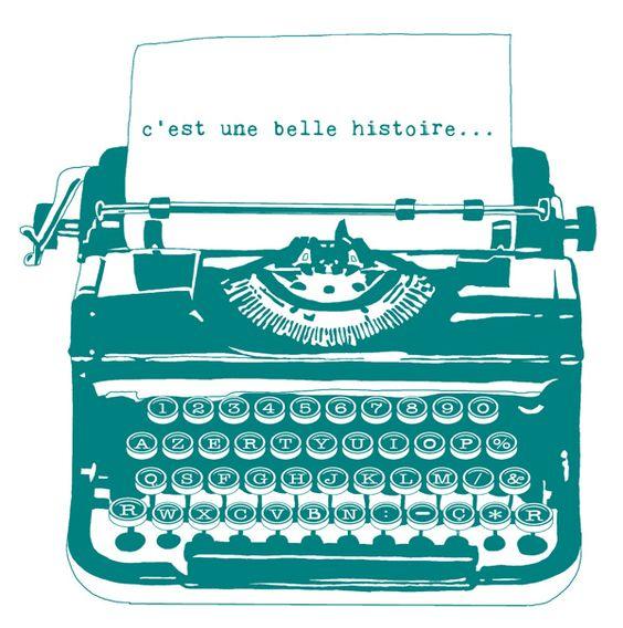 une housse d u2019ordinateur en lin avec un motif de machine  u00e0  u00e9crire r u00e9tro