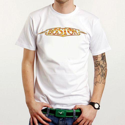 New Boston Rock Band Logo Custom White T-Shirt Tee All Size XS-XXL