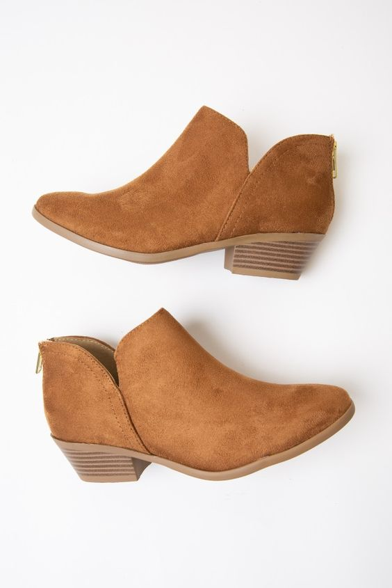 Camel Faux Suede Ankle Bootie