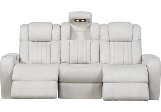Prime Servillo White Leather Dual Power Reclining Sofa Ghe In Ocoug Best Dining Table And Chair Ideas Images Ocougorg