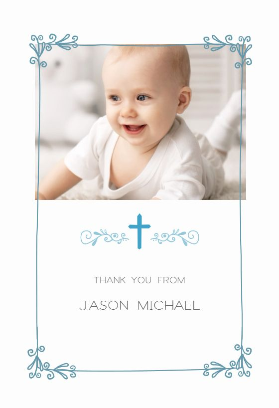 Thank You Cards For Baptism Beautiful Cross And Frame Baptism Thank You Card Free Christening Thank You Cards Thank You Card Wording Baptism Thank You Cards