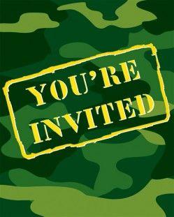 Camo Gear Invitation, Foldover - 48 per case  Product # :895005  $12.46
