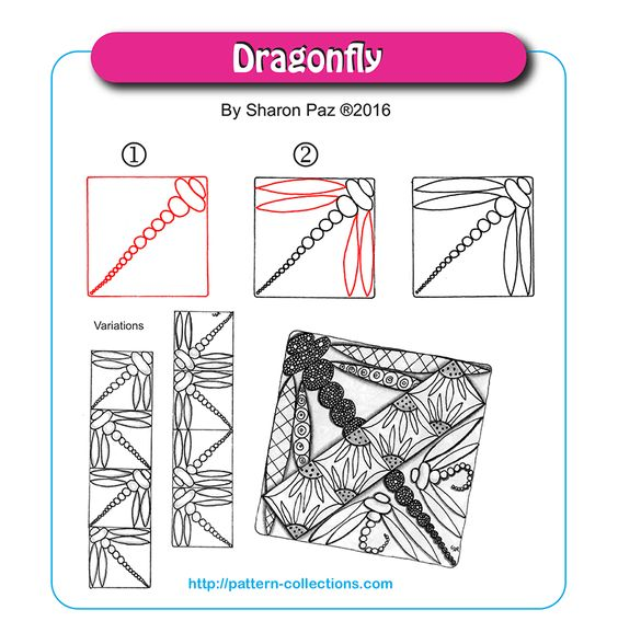Dragonfly tangle pattern by Sharon Paz PatternCollections.com