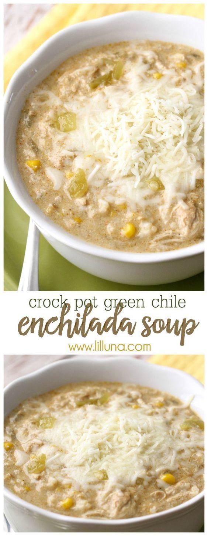 Crock Pot Green Chile Enchilada Soup - a new favorite soup recipe that is easy to make AND delicious! { lilluna.com } #soup: