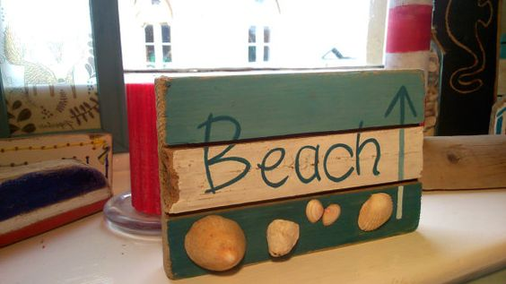 Driftwood Sign 'Beach' by TheLazyBeach on Etsy