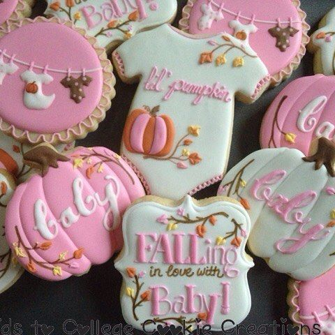 Fall Baby Girl Shower Cookies Fall Baby Shower Ideas 2019