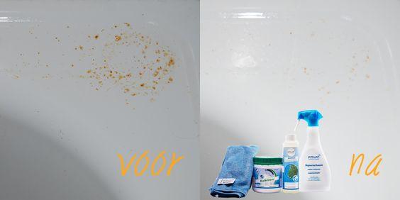 Roestvlekken verwijderen met Ontkalker (1:1) verdund met water. Inspuiten met Superschuimfles. In laten werken en met (koud) water naspoelen.