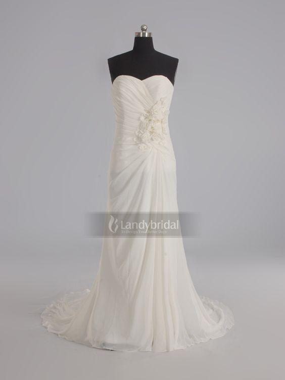 ランディブライダル ウェディングドレス ハートネック スレンダーライン 柔らかいシフォン 二次会 024278006001
