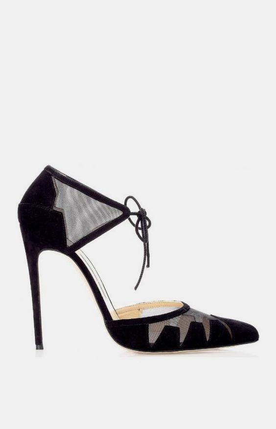 120mm Black Ankle-Tie Lana Pumps