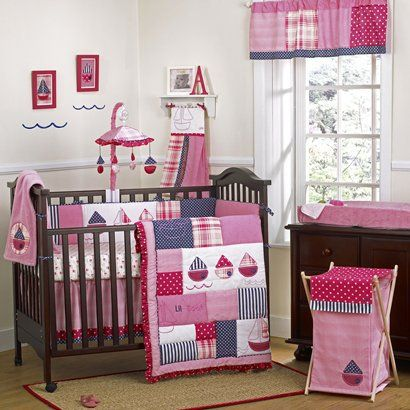 Super Cute Pink Sailboat Baby Bedding With Navy Polka Dot