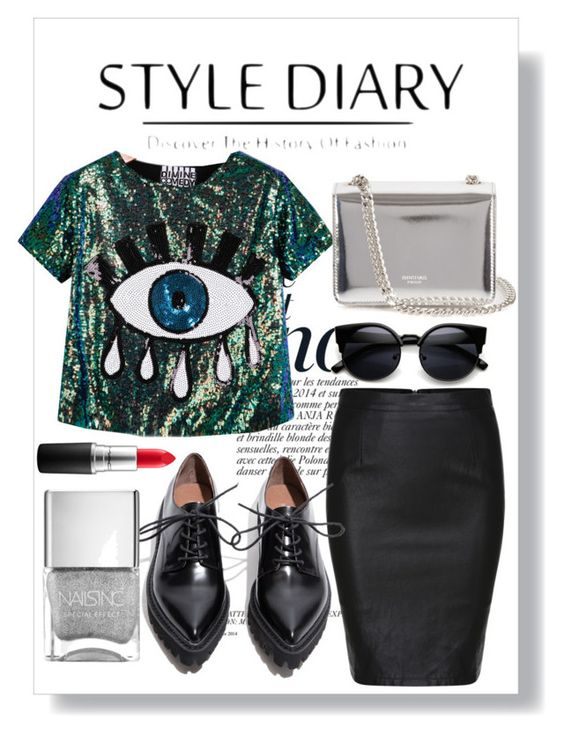 """Untitled #10"" by saraelh on Polyvore featuring Anja, H&M, Jeffrey Campbell, Rochas, MAC Cosmetics, women's clothing, women, female, woman and misses"
