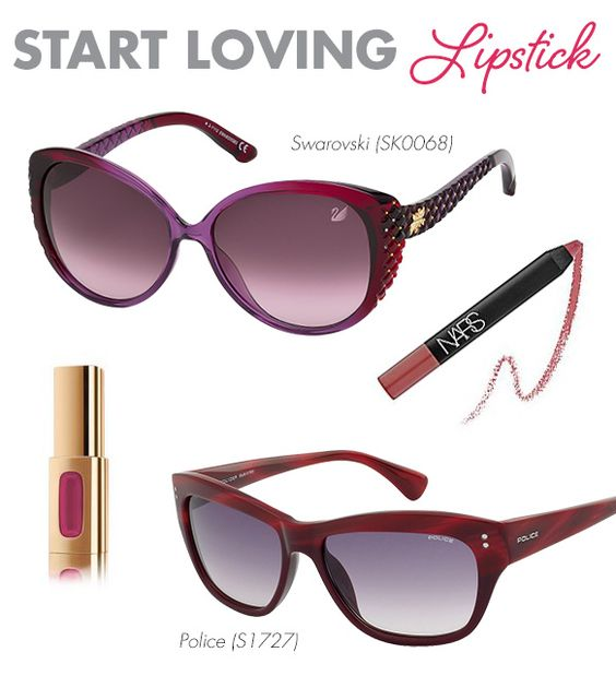 Start Loving Lipstick: I know, I know—we all own, and love, glosses galore! But trust me on this one. Lipstick is the best way to balance out statement frames, like embellished Swarovski sunglasses or angular vibrant red Police shades. So next time you are at the drugstore, pick up a long-lasting L'Oreal Paris lippie for the perfect coat of hydrating color. Also, NARS makes the most amazing Velvet Matte Lip Pencils that I highly recommend for saturated shades.