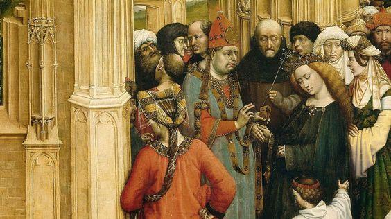 Detalle. Robert Campin (Maestro de Flémalle). Los Desposorios de la Virgen (h. 1420). Museo del Prado, Madrid.
