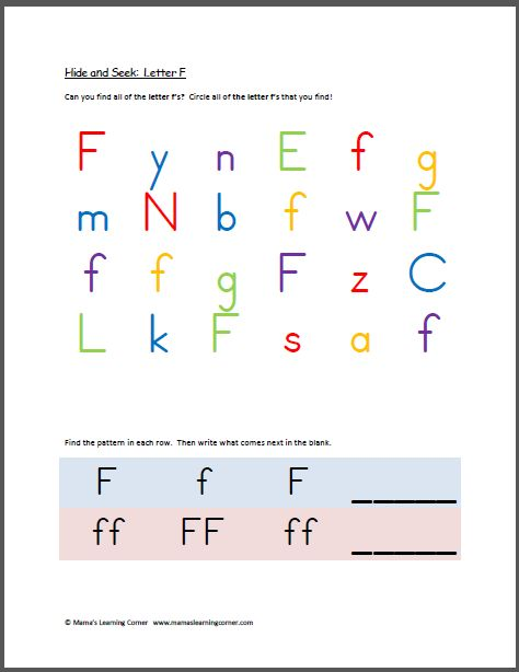 Hide and Seek: Letter F | Learning, Book and Worksheets