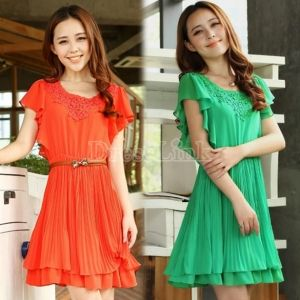 $ 8.84 New Elegant Women's Girl Short Sleeve Flouncing Chiffon Slim Dress Orange/Green