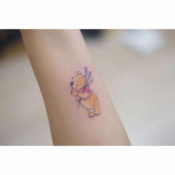 ⠀⠀⠀⠀⠀⠀Pooh bear with lavender | Artist: @sohye_tattoo_