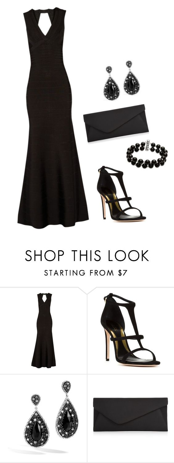 """Black Formal Night"" by tmvossen ❤ liked on Polyvore featuring Hervé Léger, Sebastian Milano, John Hardy, Accessorize and Belk & Co."