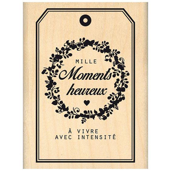 Nos jolis moments - Tampon bois - Mille moments heureux - 6 x 8 cm
