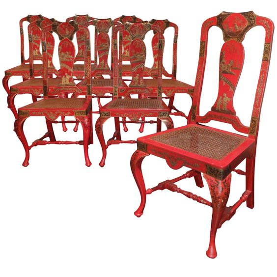 A set of ten red lacquered chairs | From a unique collection of antique and modern chairs at http://www.1stdibs.com/seating/chairs/