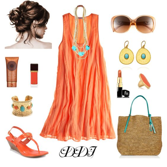 Orange and Turquoise! Such a cute outfit for summer
