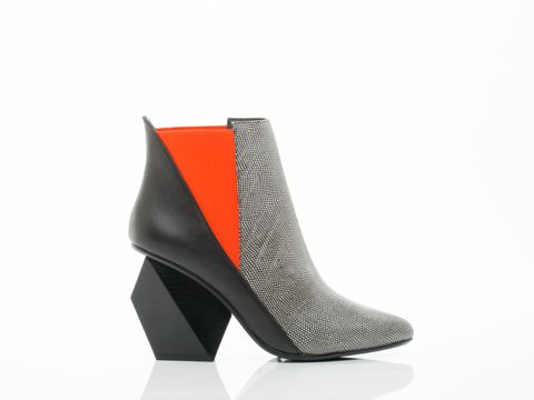 """JACKY HI BY UNITED NUDE ($340)Comes with a spare set of heel caps! 3 1/2"""" heel. Fabric goring and leather upper, leather lining, man made sole. Fits true to size, slightly narrow. Size US8 (EU 38) insole measures 9 5/8"""" or 24.5 cm. Each whole size is 1/2"""" or 1cm difference. A United Nude original. Women's shoe. Imported."""