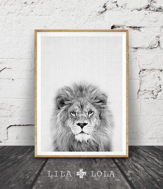 Druckbare Kinder Geschenk, Lion-Print, Kinderzimmer Tier Wandkunst, Kids…