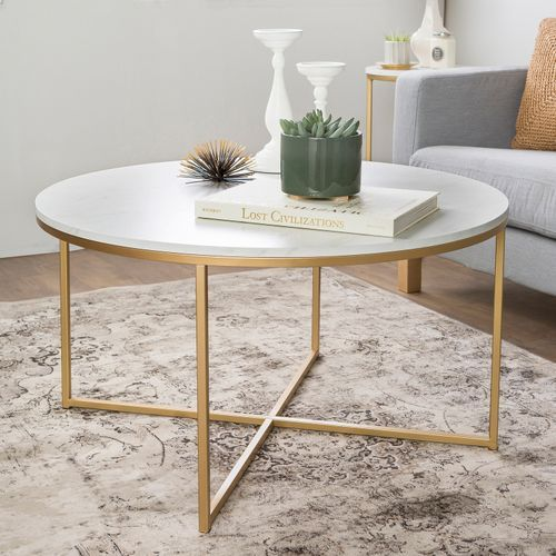 Gold X Base Faux Marble Round Coffee Table Faux Marble Coffee
