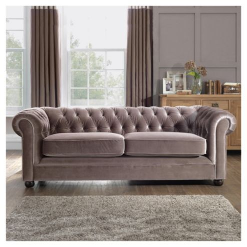 Chesterfield Velvet Effect Medium Sofa Mink 499