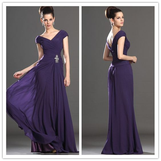 Free Shipping Evening Dress with cap sleeve long V neck chiffon evening dresses US $34.00