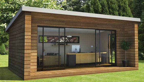 Abri de jardin - pièces en plus - bardage bois - grande baie vitrée - studio…: