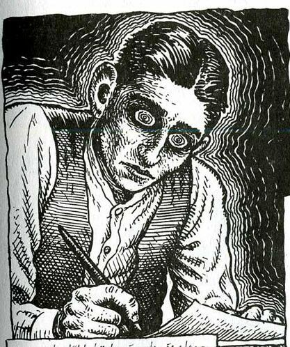 Franz Kafka par Robert Crumb (1943-1960) dessinateur de bande dessinée américain.: