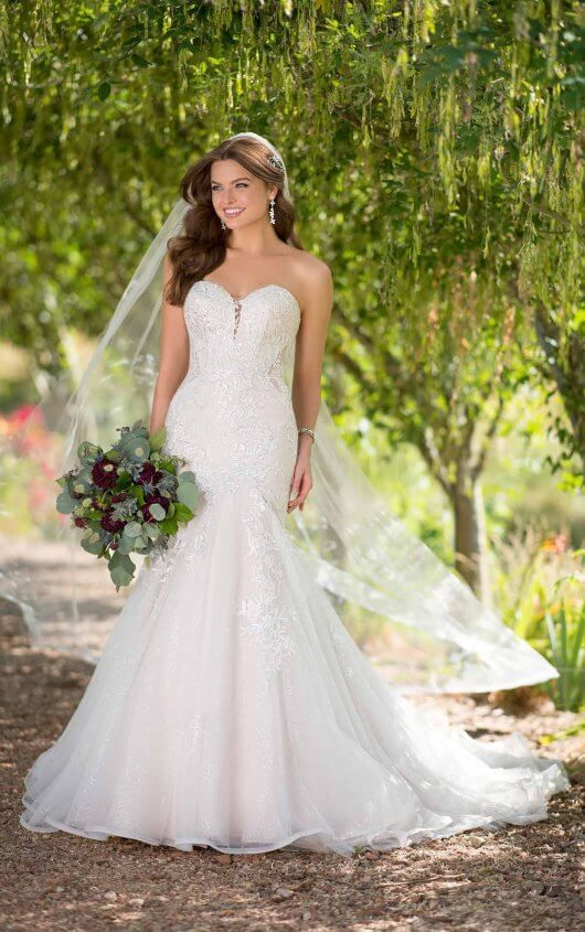 D2615 Shimmering Fit And Flare Wedding Dress With Sequin By Essense Wedding Dress Styles Guide Essense Of Australia Wedding Dresses Fit And Flare Wedding Dress