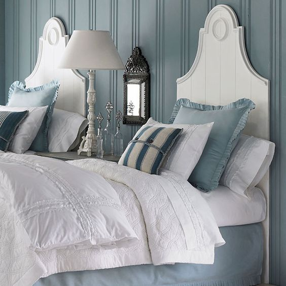 white headboards with the blue