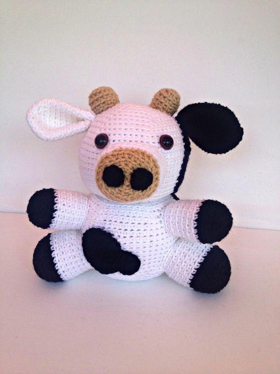 Etsy Amigurumi Patrones : Crochet Cow Amigurumi Stuffed Animal Toy Doll Black and ...