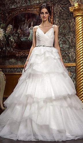 layered tulle skirt gown