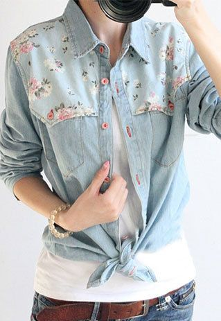 Image of [grzxy6601040]Splicing Floral Print Loose Fit Denim Shirt Blouse